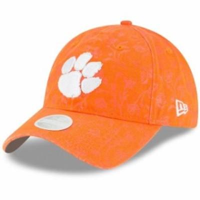 New Era ニュー エラ スポーツ用品  New Era Clemson Tigers Womens Orange Floral Peek 9TWENTY Adjustable Hat