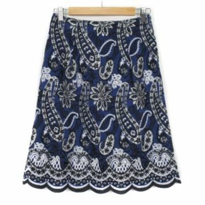 【中古】スキャパ SCAPA スカート フレア 刺繍 ペイズリー スカラップ シルク リネン 38 青 ブルー レディース