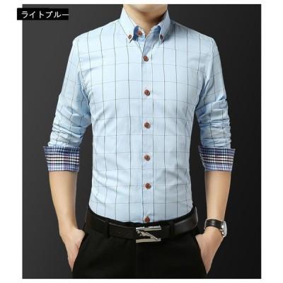 Tシャツ メンズチェック柄 ワイシャツ カジュアルシャツ メンズ ボタンダウンシャツ ビジネス 半袖シャツ スリム シャツ 大きいサイズ 通勤 春 夏