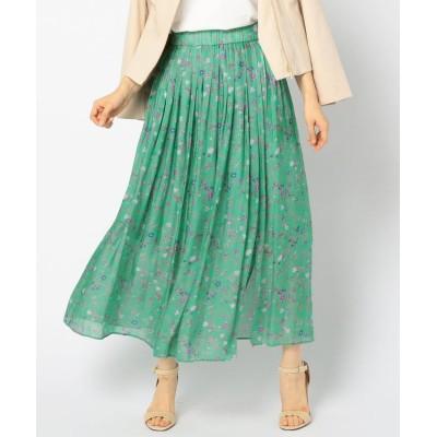 【ノーリーズ】 ブライトサテンフラワープリントスカート レディース グリーン系3 38 NOLLEY'S