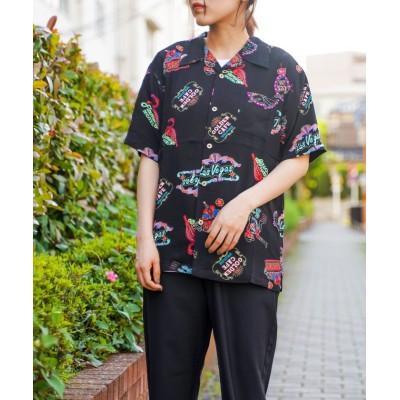 (realize/レアリゼ)【Sa】【レーヨンアロハシャツ】/ユニセックス ブラック系9