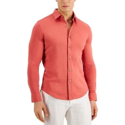 タッソ エルバ Tasso Elba メンズ シャツ トップス Pique Knit Woven Shirt Fireglow