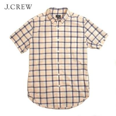 J CREW ボタンダウンチェックシャツ ジェイクルー 半袖 メンズ Sサイズ ピンク×ホワイト×ネイビー