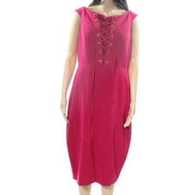ファッション ドレス Jax NEW Pink Magenta Womens Size 10 Lace Up Seamed Sheath Dress