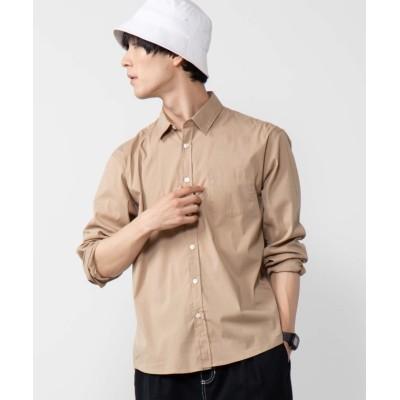 (WEGO/ウィゴー)WEGO/ストレッチブロードポプリンシャツ/メンズ ベージュ