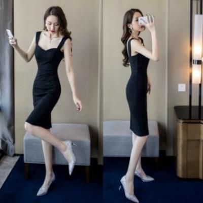 ミニドレス 結婚式 パーティードレス 二次会 ミニ ドレス ワンピース ノースリーブ 大きいサイズ ブラックドレス