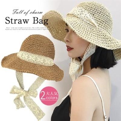 送料無料 麦わら帽子ト レディース UVカット帽子 大きいサイズ ストロー ハット おしゃれ 紫外線対策 通気性 旅行  日焼け防止 大人