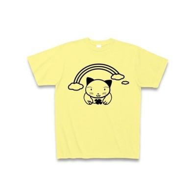 猫と虹とクローバー Tシャツ(ライトイエロー)