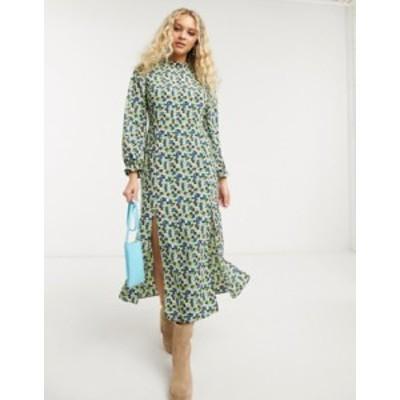 トップショップ レディース ワンピース トップス Topshop high neck midi dress in green floral Multi