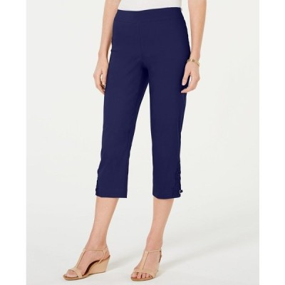 ジェイエムコレクション カジュアルパンツ ボトムス レディース Crochet-Lace Appliqué Capri Pants Intrepid Blue