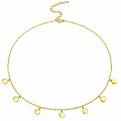 EEPIRR Minimalist Stainless Steel Necklace18K Gold Plated Adjustable Dainty Choker, Bead/7 Star/Layered/Heart/Coin Handmade Pend