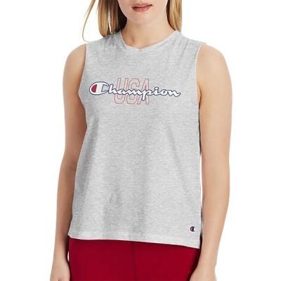 チャンピオン シャツ トップス レディース Champion Women's USA Graphic Muscle Tank Top OxfordGrey