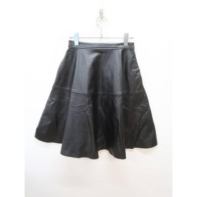 TONAL(トーナル)フェイクレザーフレアスカート 黒 レディース Aランク 36 [委託倉庫から出荷]