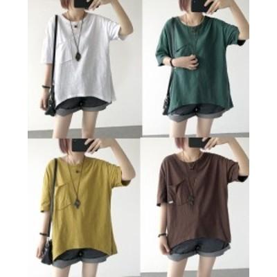 ビッグシルエット Tシャツ レディース カットソー トップス 半そで 無地 胸ポケット カラー豊富 黒 白 茶 緑 黄 大きいサイズ カジュアル