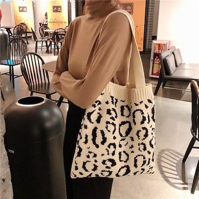 トートバッグ ハンドバッグ エコバッグ 豹柄 バッグ 肩掛け 手提げ 鞄  大容量 通勤 通学 旅行