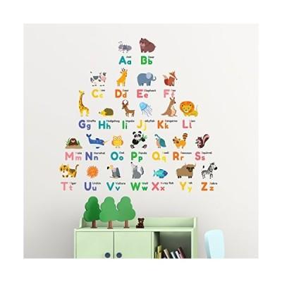 DECOWALL DW-1614 カラフルなアルファベットと動物 ウォール ステッカー デコ 幼稚園家具 部屋用 乳児 子 装飾的 リビング キッチン