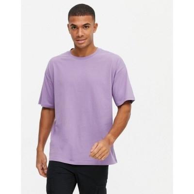 ニュールック メンズ Tシャツ トップス New Look organic cotton oversized t-shirt in purple Purple