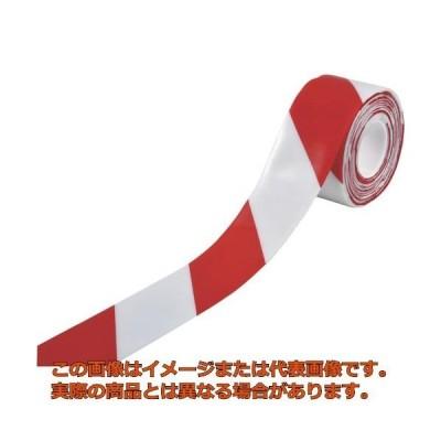 緑十字 高耐久ラインテープ 白/赤 100mm幅×10m 両端テーパー構造 403088