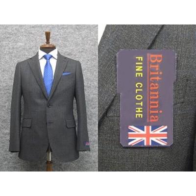 通年物 英国生地 [Britannia]ブリタニア  スタイリッシュ2釦シングルスーツ 濃グレー/格子 [A体][AB体] HL4202