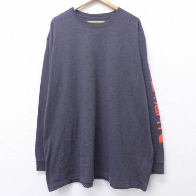 XL/古着 長袖 Tシャツ カーハート Carhartt ロゴ 大きいサイズ ロング丈 クルーネック 濃グレー 20jul31 中古 メンズ