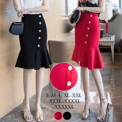 タイトスカート 韓国風 マーメイドスカート ハイウエスト ビジネス 大きいサイズ スリット フォーマル オフィス オシャレ 20代〜40代 結婚式/デート〜5XL