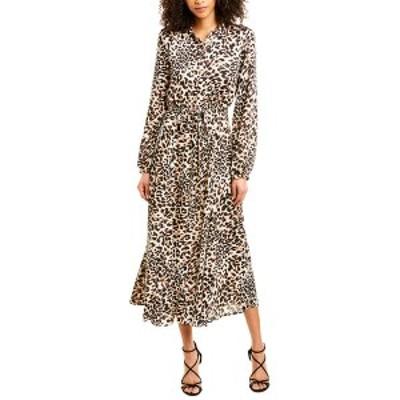 ビーシービージーマックスアズリア レディース ワンピース トップス BCBGMAXAZRIA Long Shirtdress neutral classic leopard print