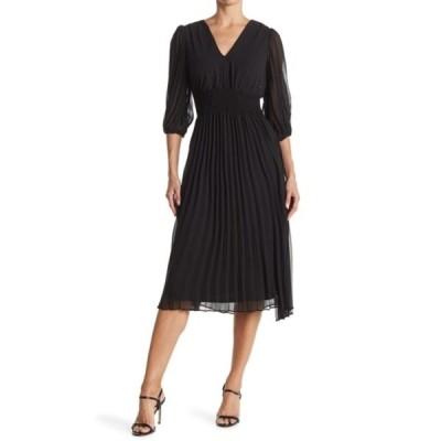 テイラー レディース ワンピース トップス Solid Pleated Chiffon Dress BLACK
