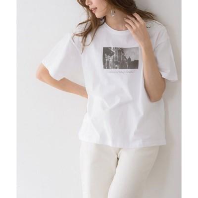 tシャツ Tシャツ 大人カジュアル フォトプリントコットンTシャツ