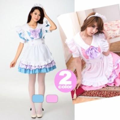 【3】水色  メイド服 ワンピース  ロリータ ゴスロリ コスプレ コスチューム レディース  衣装 仮装