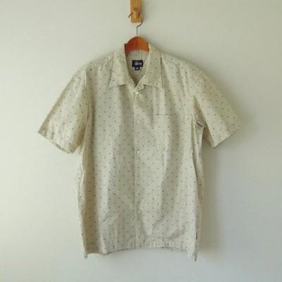 stussy オープンカラー 半袖シャツ 小さいラスタの総柄 USA製 くすんだ白 M(t-865)