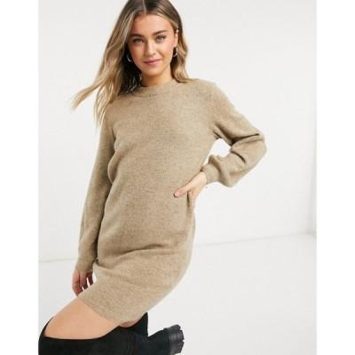 オブジェクト Object レディース ワンピース ワンピース・ドレス Knitted Dress in beige ベージュ