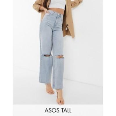 エイソス レディース デニムパンツ ボトムス ASOS DESIGN Tall organic high rise 'relaxed' dad jeans in lightwash with rips Light bl