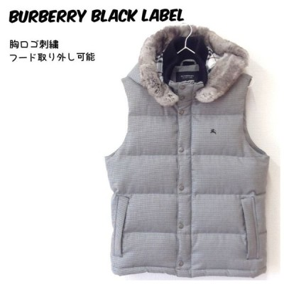 【中古】【送料無料】バーバリーブラックレーベル BURBERRY BLACK LABEL ダウンベスト ジャケット 千鳥格子 グレー系 メンズ サイズM