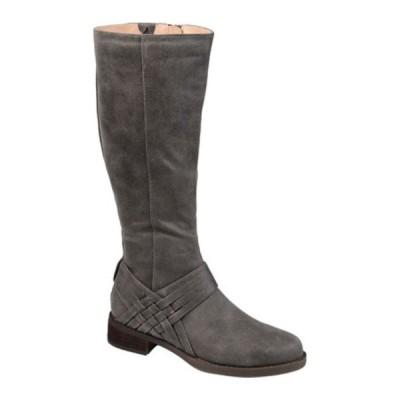 ジャーニーコレクション ブーツ&レインブーツ シューズ レディース Meg Extra Wide Calf Knee High Boot (Women's) Grey Faux Suede