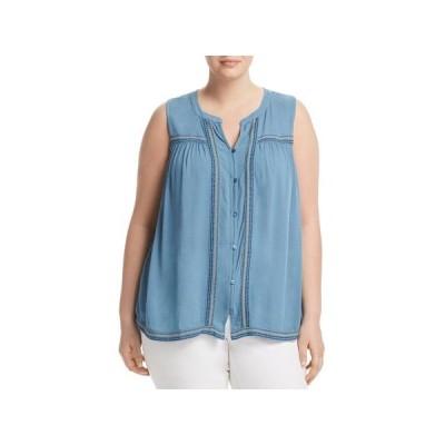 レディース 衣類 トップス Lucky Brand Womens Plus Button-Down Embroidered Blouse ブラウス&シャツ