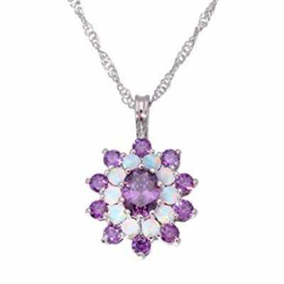 CiNily Opal Necklace-14K White Gold Plated Opal Pendant Necklace Fire Opal with Amethyst Opal Jewelry for Women Girls (Amethyst)