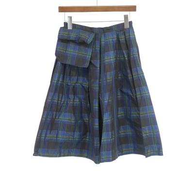 ohta オオタ 15SS chekered skirt タータンチェックプリーツスカート ネイビー 1 レディース