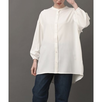 【アールピーエス】【WEB限定】pura ボリュームスリーブノーカラーロングシャツ