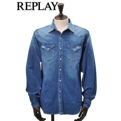 リプレイ REPLAY デニムシャツ メンズ ウエスタン デニム生地 ブルーウォッシュ 長袖 襟先アクセサリー 国内正規品 でらでら 公式ブランド