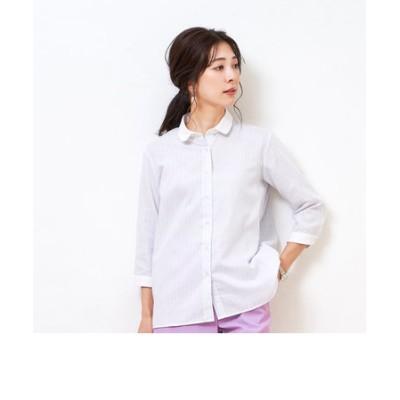 レディース ウィメンズシャツ カジュアル 七分袖 形態安定 やわらかガーゼ クレリック ラウンド衿 綿100% 白×グレー、サックスストライプ