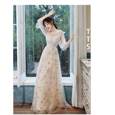 パーティードレス 大きいサイズ ロング丈 ウエディングドレス 40代 袖あり フォーマルドレス 結婚式ワンピース お呼ばれ 二次会 披露宴 謝恩会 上品 おしゃれ