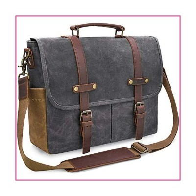 Mens Messenger Bag 15.6 Inch Waterproof Vintage Genuine Leather Waxed Canvas Briefcase Large Satchel Shoulder Bag Rugged Leather Computer La