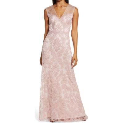 タダシショージ TADASHI SHOJI レディース パーティードレス ワンピース・ドレス Embroidered Lace Evening Gown Petal