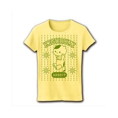 花火大会着ぐるみバイトねこ(手ぬぐい風抹茶色) リブクルーネックTシャツ(ライトイエロー)