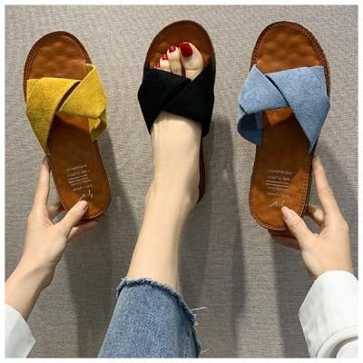 送料無料 フラットサンダル レディース サンダル 靴 歩きやすい ローヒール 美脚靴 幅広 シューズ