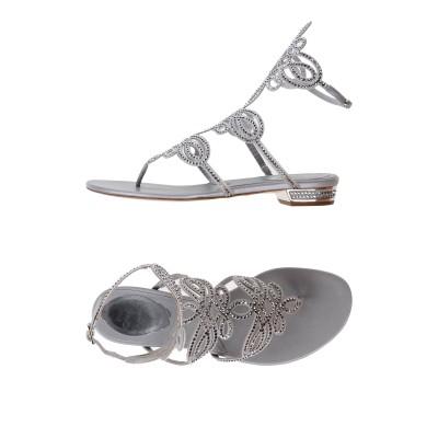 レネ・カオヴィラ RENE' CAOVILLA トングサンダル シルバー 36.5 紡績繊維 / 革 トングサンダル