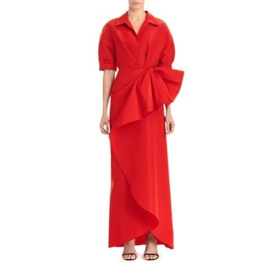 キャロライナヘレラ レディース ワンピース トップス Collared 1/2-Sleeve Gown w/ Fan Detail