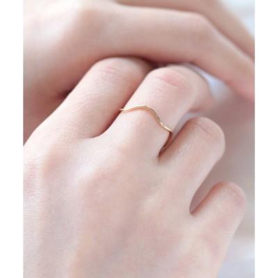 指輪 K10 ウェーブ ツヤ リング