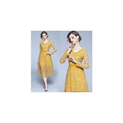 パーティードレス ミモレ丈 刺繍 結婚式ドレス ワンピース お呼ばれ 二次会 Aライン 上品 着痩せ 発表会 大人 フォーマル ロングドレス 20代 30代 40代 短納期