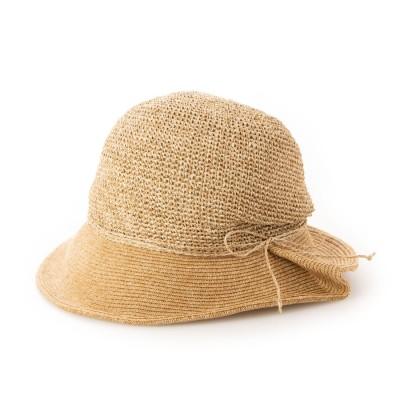 カシュネ cache nez 手編み切り替えクロッシェハット (キャメル)